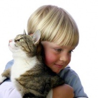 kid hugging cat