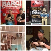 vetwest-client-helen-and-her-son-holding-rescued-puppies-at-barc
